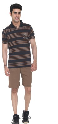 Colors & Blends Bermuda Suit Mens Striped Brown Top & Shorts Set