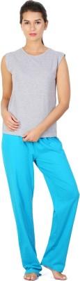 Click Hit Softle Top Payjama set Women's Solid Grey, Light Blue Top & Pyjama Set