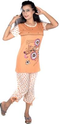 Rosabela Women's Printed Orange Top & Pyjama Set