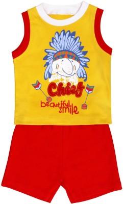 Munna Munni Kids Apparel Baby Boy's Printed, Solid Yellow, Red Top & Shorts Set