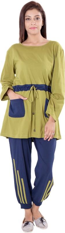 9teen Again Women's Solid Multicolor Top & Pyjama Set