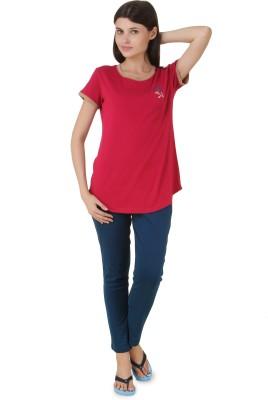 Fragrance Women's Solid Red Top & Pyjama Set