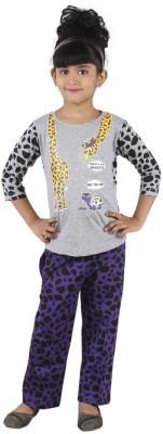 Bella & Brat Girl's Printed Grey, Purple Top & Pyjama Set