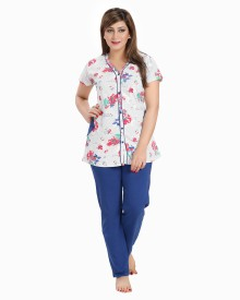 AV2 Women's Printed Blue Top & Pyjama Set