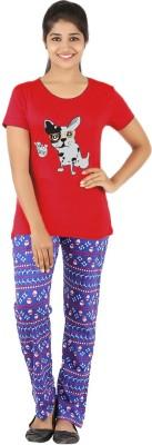 Gallop Women's Printed Red Top & Pyjama Set