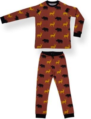 Ventra Boy's Printed Orange Top & Pyjama Set