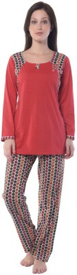 Squirrel Women's Printed Red Top & Pyjama Set