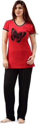 Sweet Night Women's Printed Red Top & Capri Set