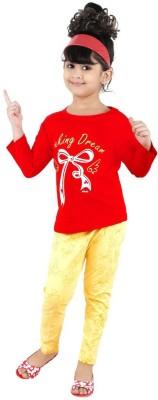 Bella & Brat Girl's Printed Red, Yellow Top & Pyjama Set