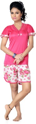 Go Glam Women's Floral Print, Solid Pink, White Top & Shorts Set
