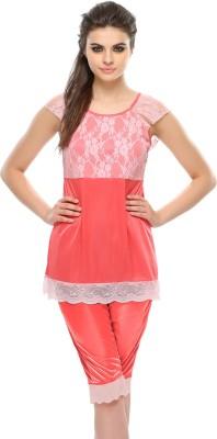 Clovia Pink Lace Women's Solid Pink Top & Capri Set