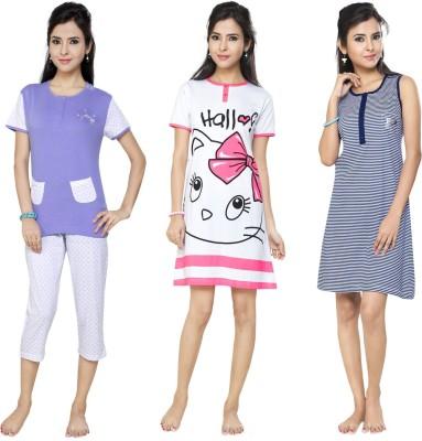 Flamingo Lingerie Women's Printed Purple, Pink, Dark Blue Top, Pyjama & Capri Set