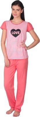 Lazy Dazy Women's Striped, Printed White, Orange Top & Pyjama Set