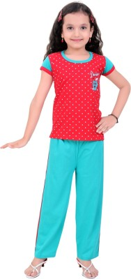 Be 13 Girl's Printed Red Top & Pyjama Set