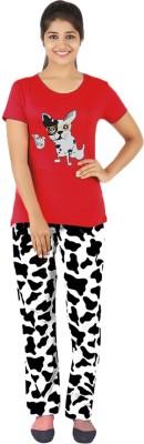 Gallop Women's Printed Black Top & Pyjama Set