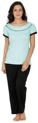 Klamotten Women's Solid Light Green Top & Pyjama Set