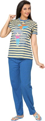 Div Women's Printed Multicolor Top & Pyjama Set