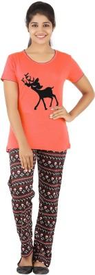 Gallop Women's Animal Print Orange Top & Pyjama Set