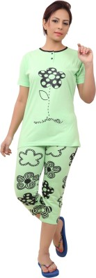 Div Women's Printed Green Top & Capri Set