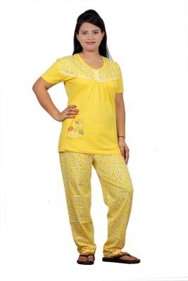 UNO COTTON Women's Printed Yellow Top & Pyjama Set