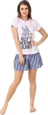BrandMeUp Women,s Printed Beige Top & Shorts Set