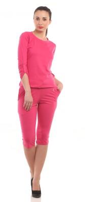 Ultrafit Ns2pcs Women's Solid Pink T-shirt & Three-forth Set