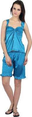 Teleno Night Women's Solid Blue Top & Shorts Set