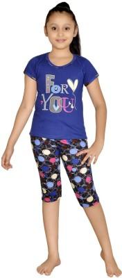 ABHIRA Girl's Printed Blue Top & Capri Set