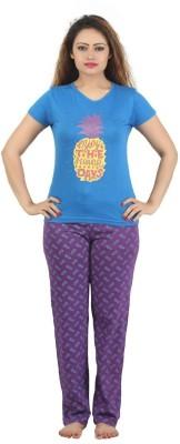 Sunwin Women's Printed Blue, Purple Top & Pyjama Set
