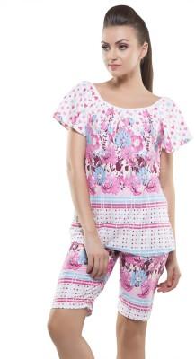 Kunchals With Nightwear Women's Self Design Pink Top & Capri Set