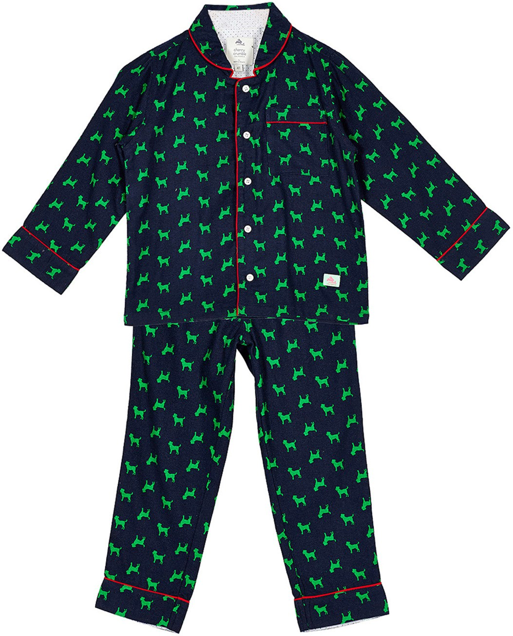 70679791a1f Cherry Crumble California Baby Boys Printed Dark Blue Top   Pyjama Set