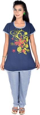 Rosabela Women's Printed Blue Top & Pyjama Set