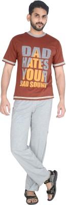 Speed Ball Men's Printed Brown, Grey Top & Pyjama Set