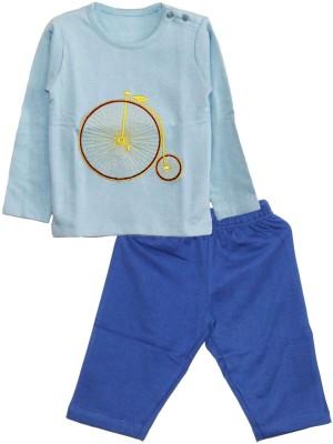 My Little Lambs Baby Boy's Solid Blue Top & Pyjama Set