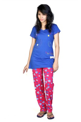 F FASHIONSTYLUS Women's Printed Blue, Pink Top & Pyjama Set