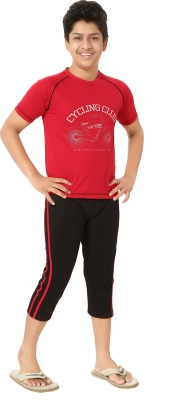 Elite Boy's Printed Red, Black Top & Capri Set