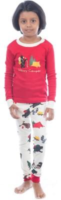 Lazy One Girl's Animal Print Red Top & Pyjama Set