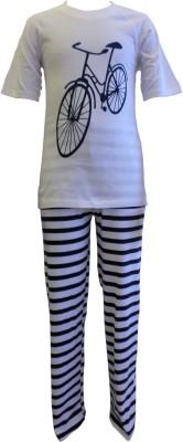 Junior Boxer Boy's Graphic Print White, Black Top & Pyjama Set