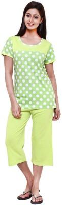 Softwear Women's Printed Green Top & Capri Set