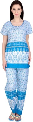Simrit Women's Printed Blue Top & Pyjama Set
