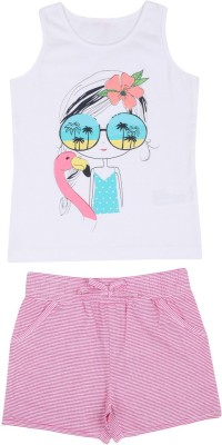 Mom and Kid Girl's Printed, Striped White, Pink Top & Shorts Set