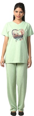 Elite Women's Printed Light Green Top & Pyjama Set