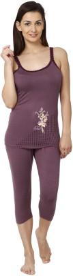 She N She Women's Solid Purple Top & Capri Set