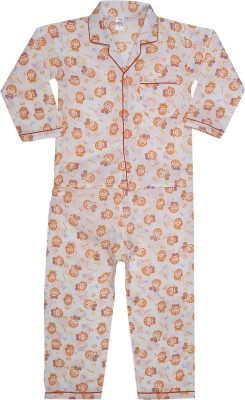 Kingstar Boy's Printed Orange Top & Pyjama Set