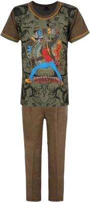 Jazzup Boy's Printed Brown Top & Pyjama Set