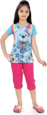 Just4You Girl's Printed Multicolor Top & Capri Set
