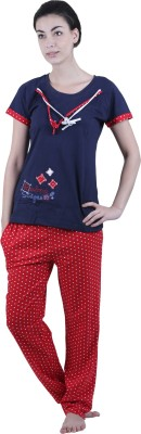 Vixenwrap Women's Polka Print Red, Blue Top & Pyjama Set