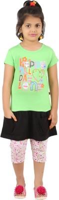SPN Garments Girl,s Printed Green, Pink, Black Top & Capri Set
