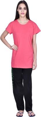 PRO Lapes Women's Solid Pink Top & Pyjama Set