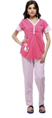 American Cult Women's Solid Pink Top & Pyjama Set